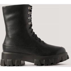 Bottes Chunky À Lacets Sur La Tige - Black - NA-KD Shoes - Modalova