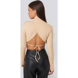 Open Back Highneck Bodysuit - Beige - NA-KD Party - Modalova