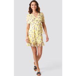 Short Sleeve Print Chiffon Dress - Yellow - NA-KD Boho - Modalova