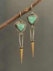 Boucles d'oreilles pendantes en métal Vintage Bullet Boucles d'oreilles Tempérament Turquoise - Newchic - Modalova