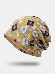 S Polyester Coton Motif Géométrique Jacquard Plus Bonnet Velours Chaud - Newchic - Modalova