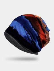 S Dacron Plus Velours Rayures Géométriques À Double Usage Imprimer Chaleur Coupe-Vent Bib Écharpe Bonnet Bonnet - Newchic - Modalova