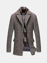 Duffle-coat Élégant en Laine avec Écharpe Amovible Manteau Hiver Chaud Doublure à Carreaux - Newchic - Modalova