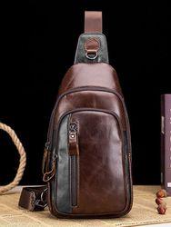 Sac à bandoulière multifonction en cuir vintage Sacs de poitrine Sacs à bandoulière - Newchic - Modalova