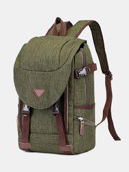 Vintage toile deux tons boucle avant multi-poches voyage extérieur sac pour ordinateur portable sac à dos sac à main - Newchic - Modalova