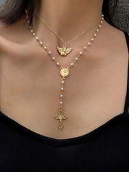 Petit Ange Collier Géométrique Perle de Tempérament Collier Pompon Croix en Y - Newchic - Modalova