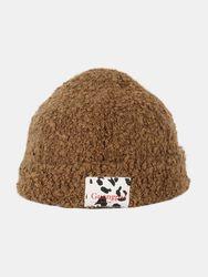 S Teddy Velvet Couleur Unie Vache Motif Lettre Tissu Étiquette Chaleur Bonnet Chapeau - Newchic - Modalova