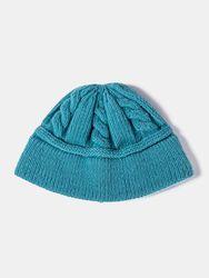 Bonnet unisexe tricoté de couleur unie en jacquard torsadé sans bord pour la chaleur extérieure - Newchic - Modalova