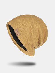 Chapeau unisexe tricoté couleur unie lettre Rivet cuir étiquette chaleur décontracté bonnet - Newchic - Modalova