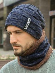 Bonnet tricoté avec bonnet en laine rembourré en velours - Newchic - Modalova