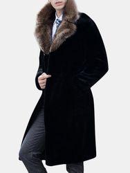 Manteau long col en fourrure de faxs Hiver Veste en laine coupe slim chaud Trench - Newchic - Modalova