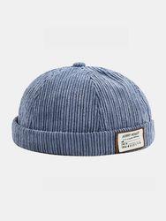 Bonnet unisexe en velours côtelé rétro mode extérieur Brimless Beanie Landlord Cap Skull Cap - Newchic - Modalova