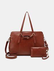Faux cuir multi-poches grande capacité 13,3 pouces sac pour ordinateur portable ensemble deux pièces sac à main sac à ba - Brenice - Modalova