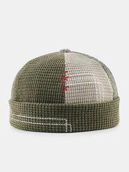 Unisexe en velours côtelé de couleur assortie Patchwork couture à la mode bonnet sans bord bonnet de propriétaire casque - Newchic - Modalova