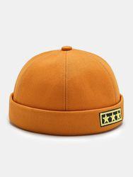 Coton unisexe couleur unie étoile à cinq branches étiquette broderie mode bonnet sans bord casquette de propriétaire cas - Newchic - Modalova