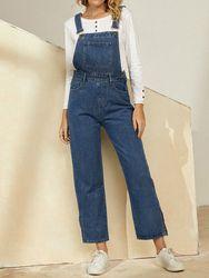 Salopette en jean Combinaison décontractée avec poche à jambe large et bouton - Newchic - Modalova