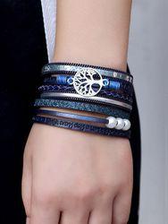 Bracelet Bracelet Vie d'Arbre Vintage en cuir multicouche Bracelet en alliage Bracelet tissé - Newchic - Modalova