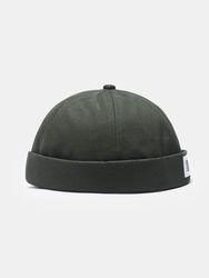Coton unisexe couleur unie mode Hip-hop Style lettre bâton propriétaire casquette sans bord bonnet crâne casquette - Newchic - Modalova