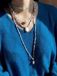 Pcs Perles De Riz Colorées Femmes Collier Croix Turquoise Perle Pendentif Collier De Perles - Newchic - Modalova
