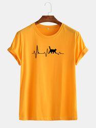 T-shirt col rond basique multicolore imprimé chat en coton - Newchic - Modalova