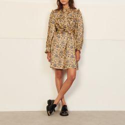 Short printed silk dress - Sandro - Modalova