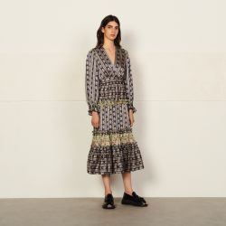 Long dress with a mixture of prints - Sandro - Modalova
