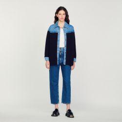 Dual material jacket style cardi-coat - Sandro - Modalova