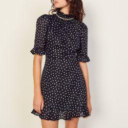 Short polka dot dress with jewels - Sandro - Modalova