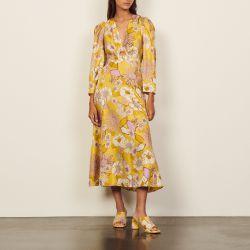 Long silk printed dress - Sandro - Modalova