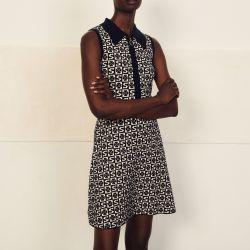 Sleeveless jacquard pattern polo dress - Sandro - Modalova