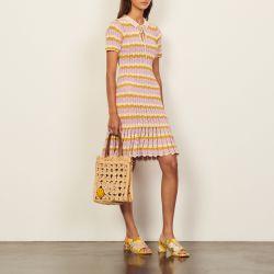 Multicoloured crochet polo dress - Sandro - Modalova