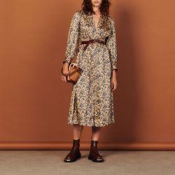 Long flowing printed dress - Sandro - Modalova