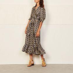 Long printed wrap dress - Sandro - Modalova