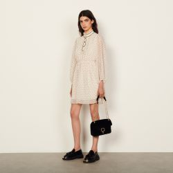 Short dotted Swiss dress - Sandro - Modalova