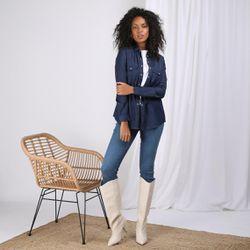 Promo : Chemise en jean avec pressions manches longues broderie dos - bleu foncé - 3S. x Le Vestiaire - Modalova