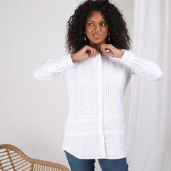 Promo : Chemise manches longues dentelle et jeux de plis - Blanc - 3S. x Le Vestiaire - Modalova