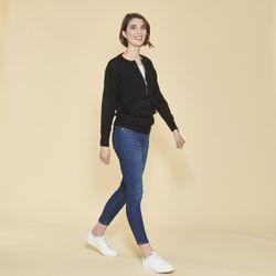 Promo : Gilet zippé manches longues et franges devant - Noir - 3 SUISSES - Modalova