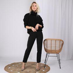 Pantalon taille élastique bas fermés par perles fantaisie - Noir - 3 SUISSES - Modalova