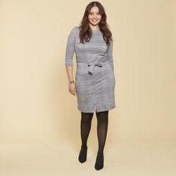 Promo : Robe courte à carreaux manches 3/4 et ceinture à nouer - Carreaux noir / blanc - 3 SUISSES - Modalova