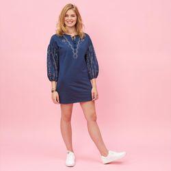 Promo : Robe courte col caftan manches longues avec imprimés - Bleu Nuit - 3 SUISSES - Modalova