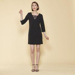 Promo : Robe courte col V dentelle manches 3/4 - Noir - 3 SUISSES - Modalova