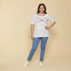Promo : Tee-shirt col rond manches aux coudes broderie devant grandes tailles - écru - 3 SUISSES - Modalova