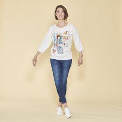 Promo : Tee-shirt imprimé frontal manches longues élastiquées - écru - 3 SUISSES - Modalova