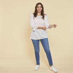 Promo : Tee-shirt manches 3/4 volantées et guipure grandes tailles - écru - 3 SUISSES - Modalova