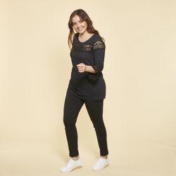 Promo : Tee-shirt manches 3/4 volantées et guipure grandes tailles - Noir - 3 SUISSES - Modalova