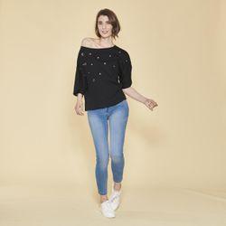Promo : Tee-shirt manches courtes oeillets devant - Noir - 3 SUISSES - Modalova