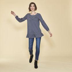 Tee-shirt manches longues élastiquées guipure et volants - Bleu Nuit - 3 SUISSES - Modalova