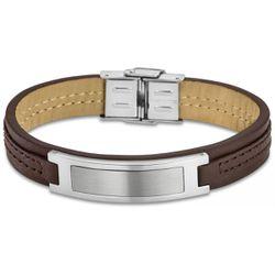 Bracelet Urban Man - Bracelet Cuir Marron Acier - LS1808-2-1 - Modalova