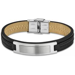 Bracelet Urban Man - Bracelet Cuir Noir Acier - LS1808-2-2 - Modalova