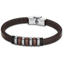 Bracelet Urban Man - Bracelet Cuir Marron Acier - LS1827-2-3 - Modalova